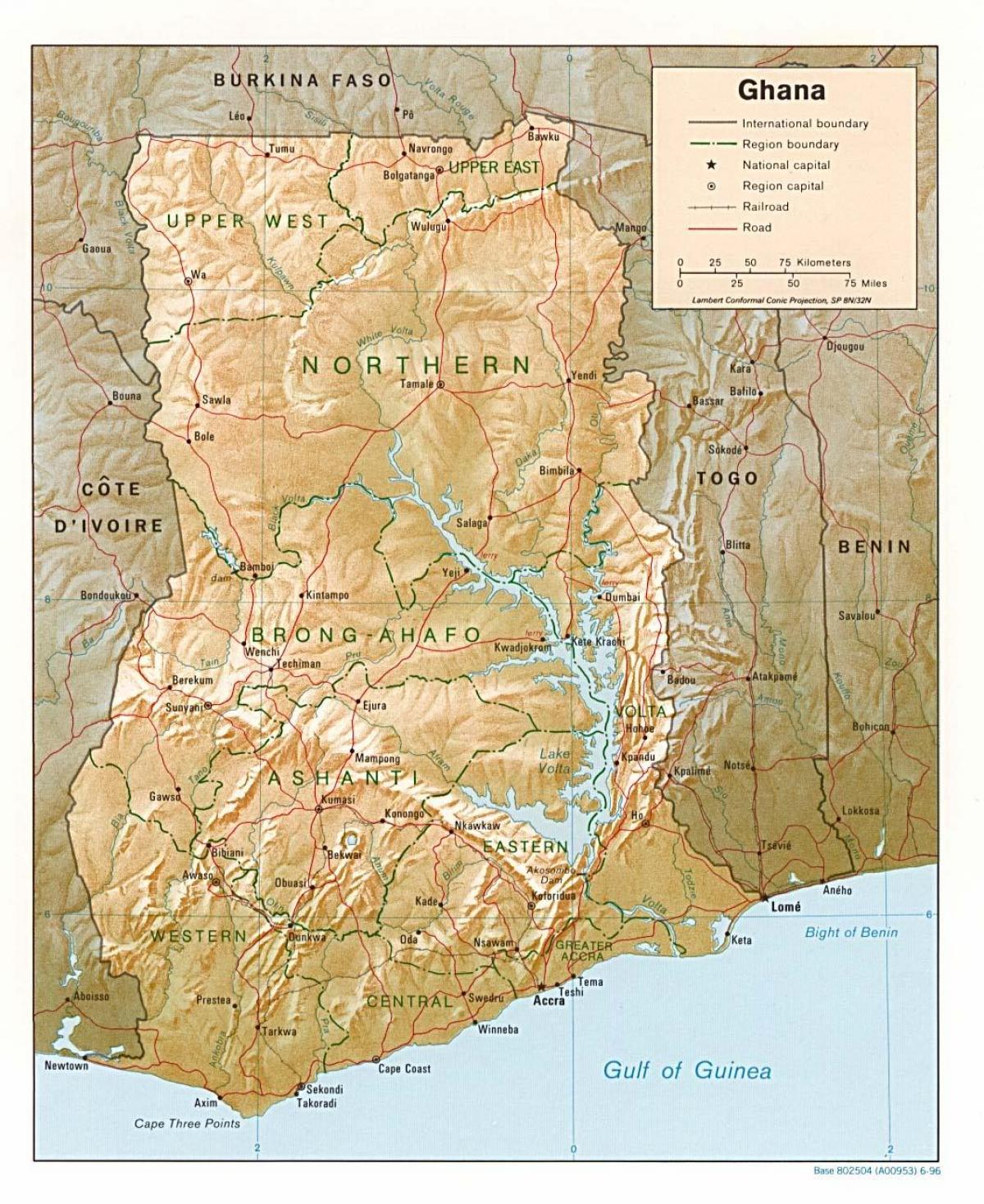 Africa Occidentale Cartina Geografica.Ghana Geografia Cartina Mappa Geografica Del Ghana Africa Occidentale Africa